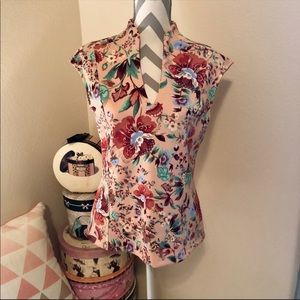 NY&C Floral Pink and Blue Scuba Blouse Medium